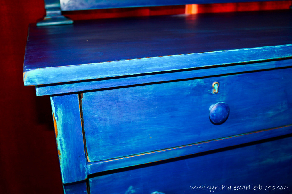 Milk Paint and Distressing an Antique Dresser... Blue???