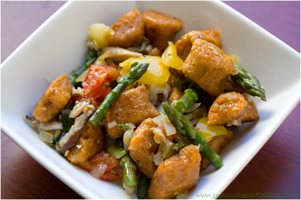 Sweet Potato Recipes -- Crispy Sweet Potato Gnocchi seved in a dish