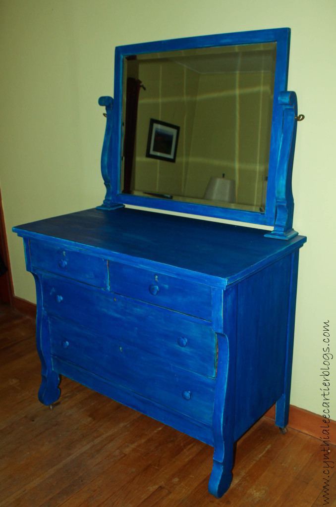 milk paint and distressing blue dresser branded