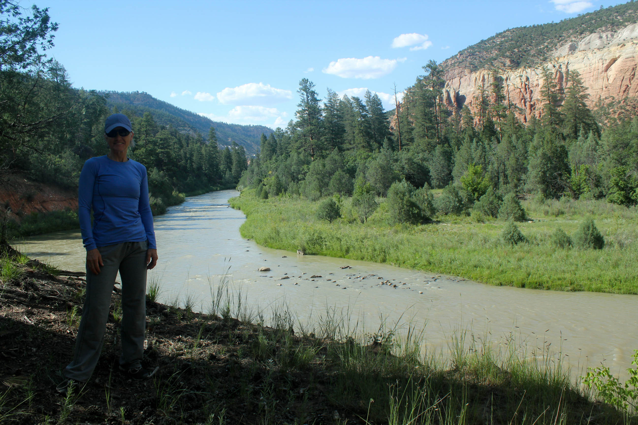Author Cynthia Lee Cartier standing above the Rio Chama River