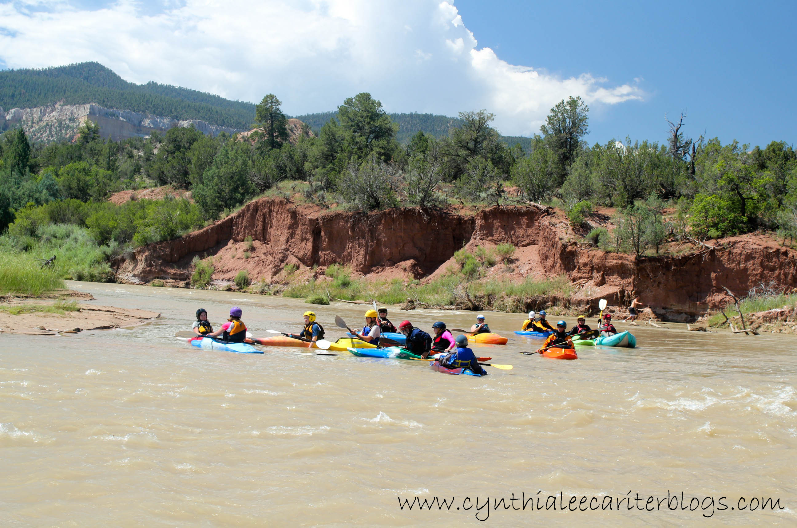 Kayaking group on the Rio Chama in New Mexico