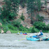 View of rafters going down the Rio Chama in New Mexico