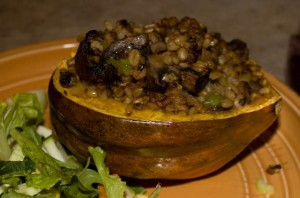 Picture of a half of an acorn squash stuffed with mushrooms and barley