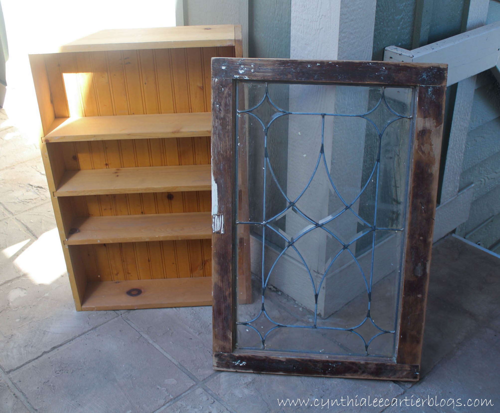 This Is A Picture Of A Cabinet Base And An Old Window Ready To Assemble To